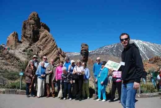 and the rocks all around are magnificent - here is the group in front of God's finger and behind our guide
