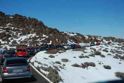 Of course we had to go up Teide but the recent heavy snow meant the road was closed until the day we went - and then it was very busy because of the locals all wanting to play in the snow. The roads to and from Teide in the caldera were one-way only and it was a long and slow drive