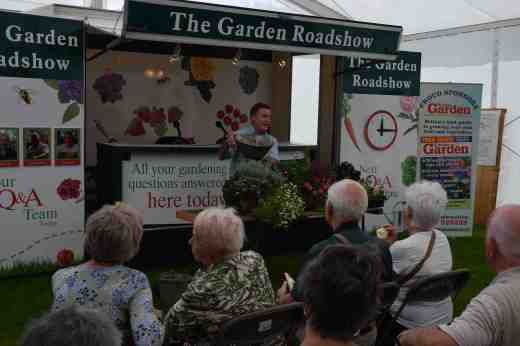Martin Fish, who hosts the Roadshow and is usually given the important job of mingling with the crowds to get the questions and give a goody bag to anyone that asks a question, gave talks on hanging baskets. Martin always complains that he is not allowed on stage and we usually say it is because he is so good at handing out the goody bags