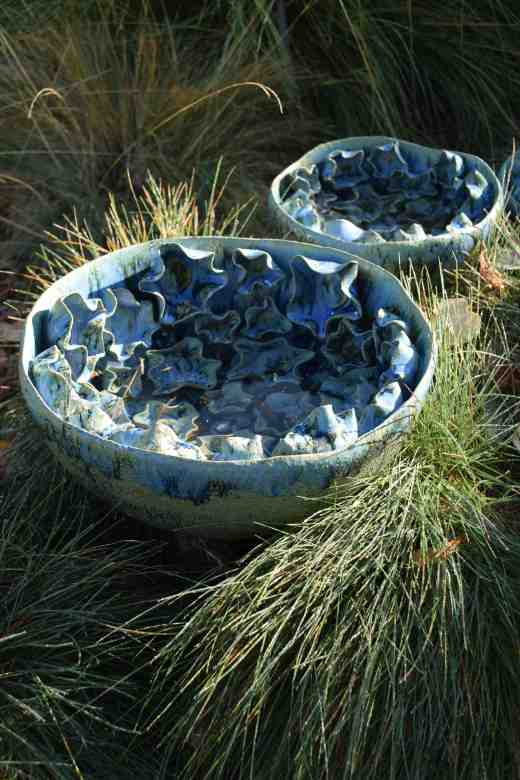 'Fauna or Flora' by Michelle Maher. The series of ceramic bowls did look good among the blue fescues