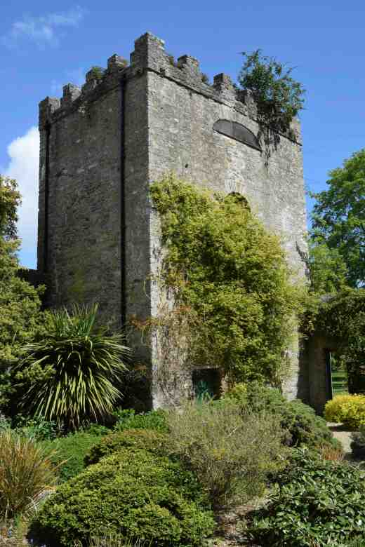 The dovecote seen from the 'Chicken Yard' where there are many tender plants
